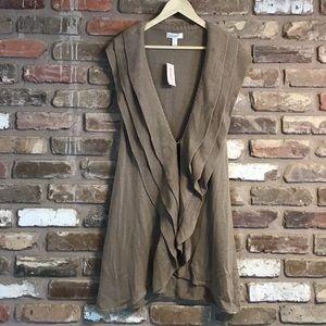 DRESS BARN Sweater Vest Duster Khaki NEW